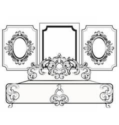 Baroque royal set of furniture vector