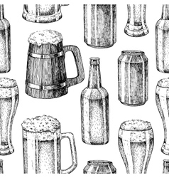 Beer seamless pattern Beer glass mug vector image vector image