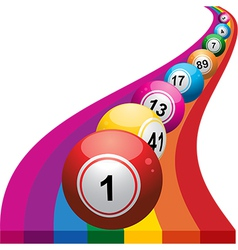 Bingo balls on raimbow background vector