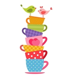 Birds and tea cups vector