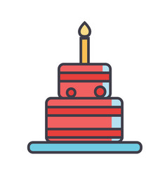 birthday cake concept line icon editable vector image vector image