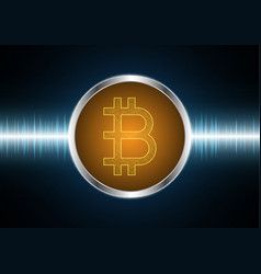 bitcoin with wave signal oscillating light vector image