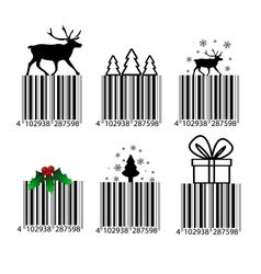 Black and white Christmas barcode vector image vector image