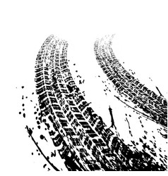 Black grunge tire tracks vector