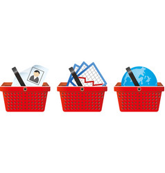 business signs in shop basket vector image vector image