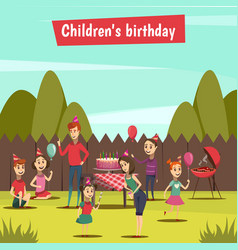 Childrens bithday party vector