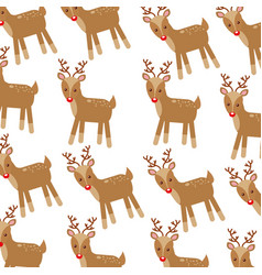 christmas cute winter reindeer decoration pattern vector image