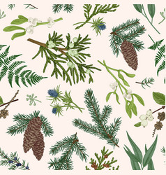 christmas seamless botanical pattern vector image