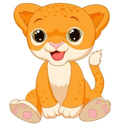 Cute baby lion cartoon vector image vector image