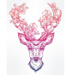 Deer head with flowers in line art style vector image
