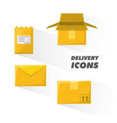 Deivery service of box package and message vector