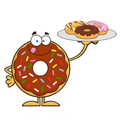 Donut Cartoon Holding a Plate of Donuts vector image