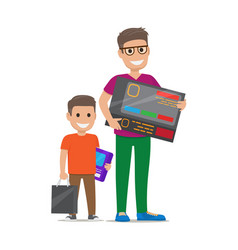 father with son buying electronics flat vector image vector image