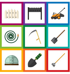 Flat icon garden set of hothouse trowel hosepipe vector