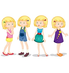 Four cute girls vector image vector image