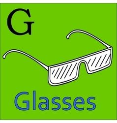 G letter alphabet coloring book glasses vector