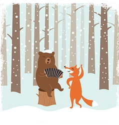 Greeting christmas card a bear and a cute fox vector