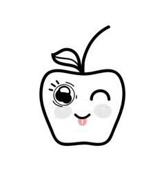 Line kawaii funny and nice apple fruit vector