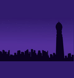 London city building with bt tower silhouettes vector