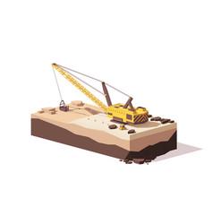 low poly dragline excavator vector image vector image