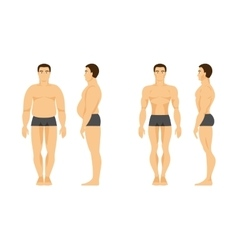 Male before and after fitness vector image