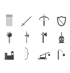 Medieval arms and objects icons vector