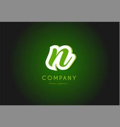 N alphabet letter logo green 3d company icon vector