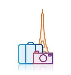 Paris tourism destination icon vector