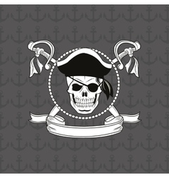 Pirate skull emblem image vector