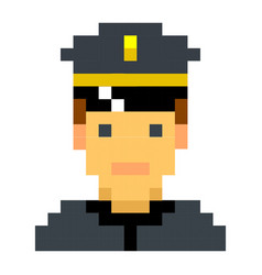 Police officer sheriff cop pixel art cartoon retro vector