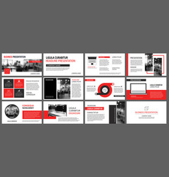 Red presentation templates for slide show vector