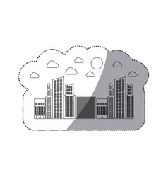 silhouette builds with small cloud and sun vector image