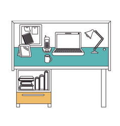 Silhouette color sections of workplace home office vector