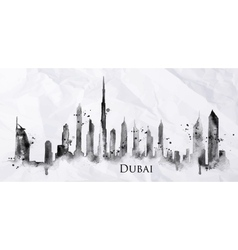 Silhouette ink Dubai vector image vector image