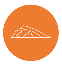sloping hill icon in thin line style vector image