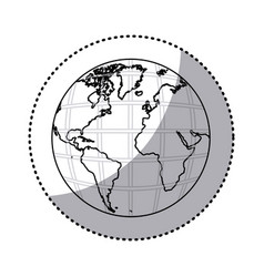 Sticker silhouette earth world map with continents vector