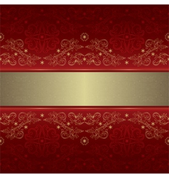 Template gold floral seamless pattern on red vector image vector image