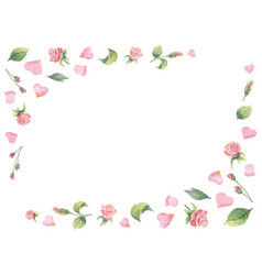 watercolor frame from green leaves flowers vector image vector image
