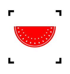 Watermelon sign red icon inside black vector