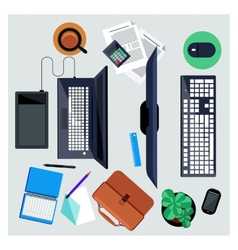 Workplace with computer and laptop concept vector