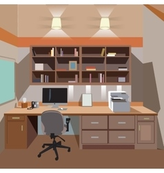Modern home office interior with desktop vector