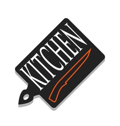 A cutting board and knife vector image