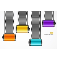 Camera film roll cartrige set vector
