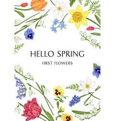 Botanical card with spring flowers vector