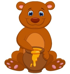 Cute bear cartoon with honey vector
