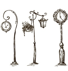Street clocks and a lamp post hand-drawn vector