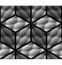 Abstract striped 3d hexagons geometric seamless vector