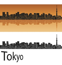 Tokyo v2 skyline in orange background in editable vector