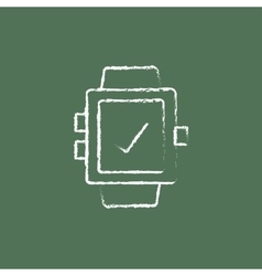 Smartwatch with check sign icon drawn in chalk vector