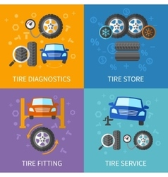 Tire service flat concepts set vector